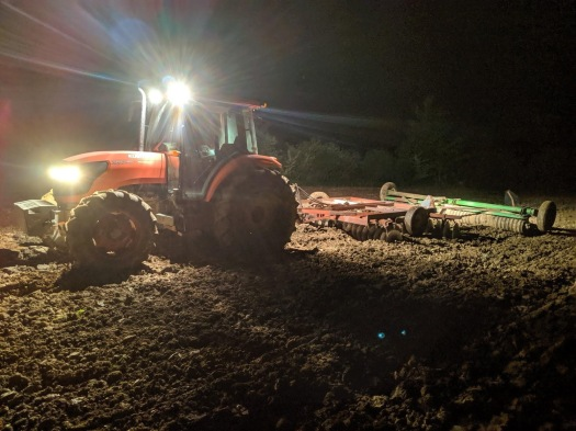 Fisher Hill Farm - Tractor at night in field