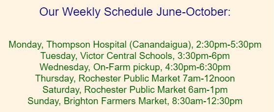 Fisher Hill Farm Summer Market Schedule